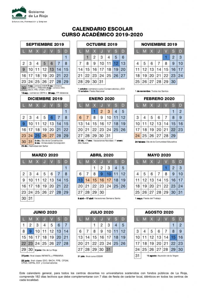 Calendario Escolar Europa 2019.Calendario Jesuitas Logrono