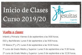 Información inicio del curso 2019-2020